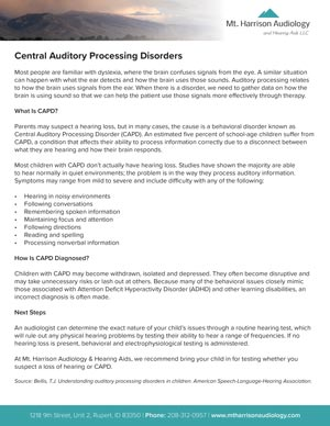 mha central auditory processing disorders