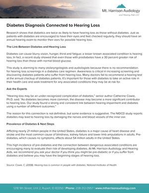 mha diabetes diagnosis connected to hearing loss