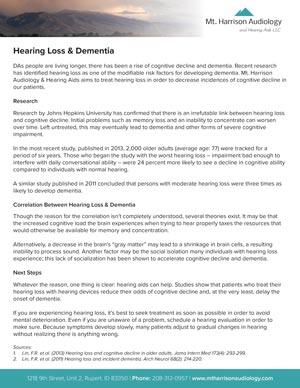 mha untreated hearing loss dementia
