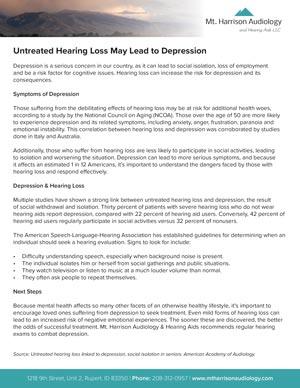 mha untreated hearing loss depression